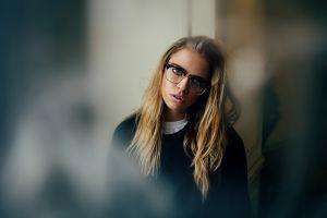 women glasses blonde model