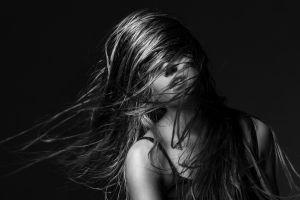 women hair in face model hair   monochrome