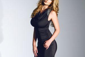 women hazel eyes lauren hanley long hair black dress blonde