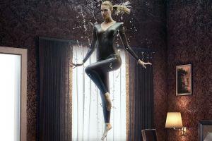 women hips indoors blonde indoors bodysuit catsuit