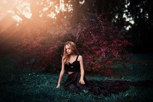 women ivan gorokhov grass women outdoors sitting skirt