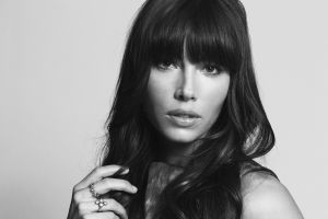 women jessica biel actress monochrome face