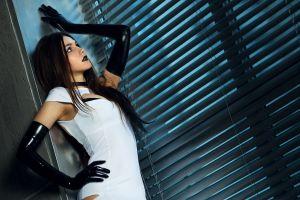 women latex makeup dress black lipstick black gloves brunette long hair lips straight hair