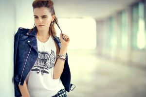 women leather jackets emma watson brown eyes actress celebrity