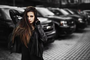 women long hair brunette jacket black clothes ivan gorokhov women with cars depth of field juicy lips looking at viewer black clothing car chevrolet leather jackets