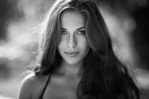 women long hair eyes monochrome face portrait