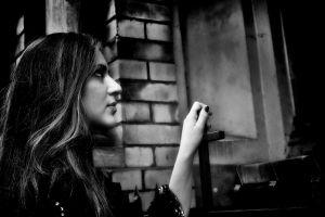 women long hair looking up monochrome model profile