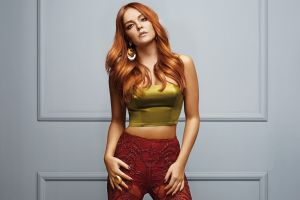 women long hair red singer