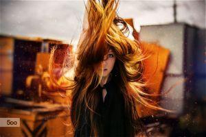 women long hair redhead model portrait face