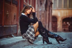women long hair women outdoors skirt miniskirt street knee-high boots brunette high heels cobblestone julien fischer sitting plaid skirt legs