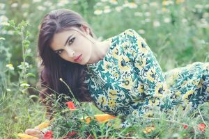 women lying on the side poppies looking at viewer flower dress brunette women outdoors poppies red lipstick