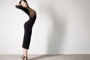 women model arched back stretching