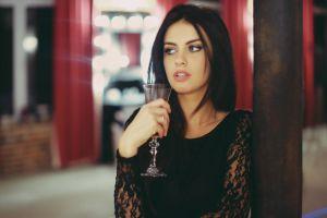 women model black dress aurela skandaj black hair face blue eyes open mouth