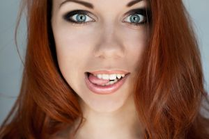 women model face redhead