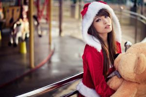 women outdoors agnes lim santa costume teddy bears open mouth brunette christmas asian red coat looking at viewer carousel dark eyes
