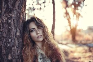 women outdoors alessandro di cicco depth of field trees model face portrait women