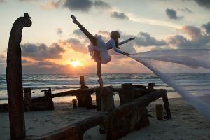 women outdoors ballerina blonde women