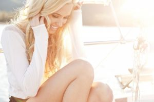 women outdoors blonde model