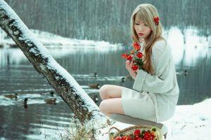 women outdoors blonde winter flowers snow white dress flower in hair women