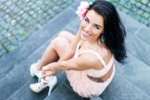 women outdoors high heels model flower in hair sebastian köhler brunette blue eyes gina carla