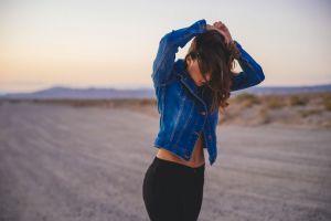 women outdoors long hair women brunette jean jacket