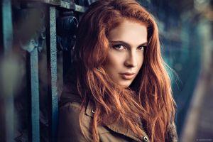 women outdoors long hair women redhead photography