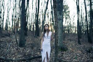 women outdoors long skirt brunette long hair looking away women white dress forest