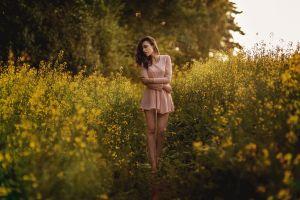 women outdoors model women closed eyes barefoot dress