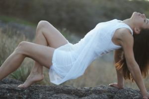 women outdoors nature model brunette legs closed eyes long hair white dress women rock barefoot