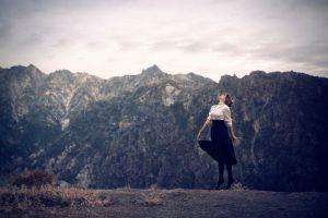 women outdoors nature model mountains landscape