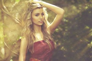 women outdoors red clothing red dress arms up blonde diffused open mouth kendall mickal hands in hair women