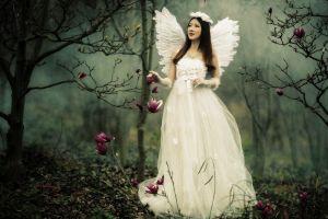 women outdoors wedding dress brides fantasy art brunette angel wings women asian flowers