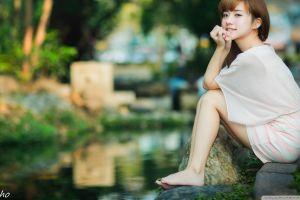 women outdoors white shirt brunette women miniskirt sitting barefoot smiling asian