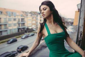 women outdoors women green dress aurela skandaj long hair brunette cleavage