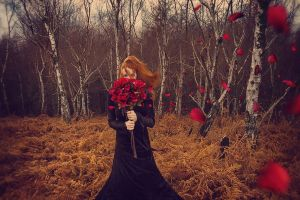 women outdoors women model flowers
