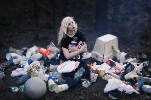 women outdoors women trash model blonde