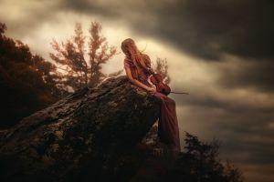 women outdoors women violin