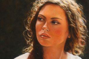 women painting portrait