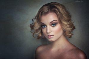women portrait bare shoulders smoky eyes blue eyes model blonde