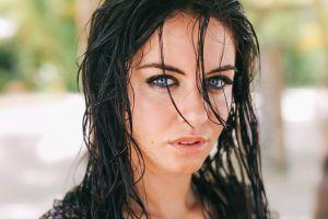 women portrait brunette aurela skandaj wet look
