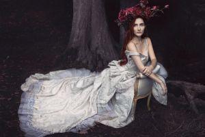 women redhead fantasy girl model fantasy art dress