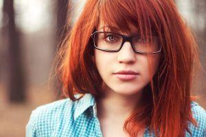 women redhead glasses face