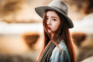women redhead long hair face straight hair asian looking at viewer hat orange eyes portrait millinery