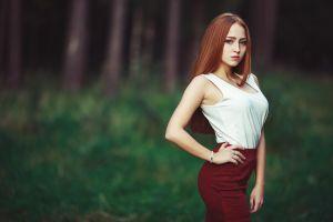 women redhead skirt portrait