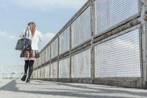 women schoolgirl rear view school uniform brunette knee-highs