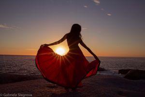 women sea dress sunset