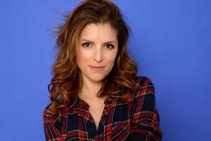 women simple background actress anna kendrick auburn hair celebrity plaid shirt