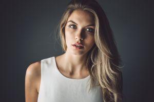 women simple background white dress paulina kurka blonde portrait long eyelashes face