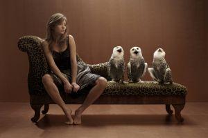 women sitting owl