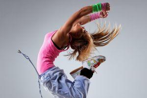 women sneakers dancer pink tops long hair blonde tank top sweatpants